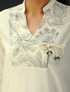 layout // Cream Zari Embroidered Angrakha Yoke Cotton Voile Top - love the yoke and tie Salwar Designs, Kurta Designs Women, Neckline Designs, Dress Neck Designs, Blouse Designs, Kurta Patterns, Dress Patterns, Kurta Neck Design, Kurti Neck