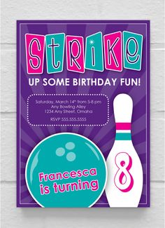 Strike It Up Bowling Party Invitation Pink Bowling Invitation