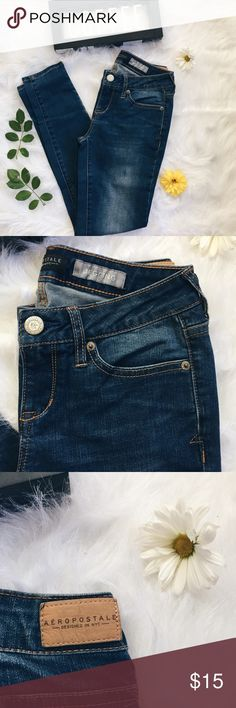 """Seriously Stretchy Dark Wash Low Rise Jeggings ▪️Product Description ▪️ ▫️Classic medium wash, low rise jeggings  ▫️A closet essential and versatile for so many looks  ▫️80% cotton, 19% polyester, 1% spandex    ▪️Fit: True to size, Aeropostale 0R which is suitable for a 25 inch waist and height 5'2""""-5'8"""" approx (measurements will provide more detail to see if these are the perfect fit)  ▪️Condition: NWOT  ▪️Measurements: Approx/Laying Flat  ▫️Inseam: 27.5 inches  ▫️Waist: 12.5 inches…"""