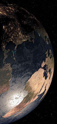 Planeta Terra iluminada vista do espaço Wallpapers