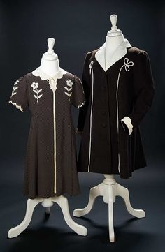"""Love, Shirley Temple, Collector's Book: Lot # 457: Brown Silk Dress Flower Design, and Coat Worn by Shirley Temple in """"Just Around the Corner"""""""