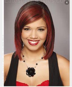 Partially red haircolor