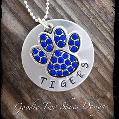 Carthage Tigers Paw Print Charm NecklaceTiger by mygoodie2shoes, $52.00 #boebot #handmadebot #coupon