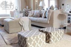 DIY Ottoman or floor pouf made from mattress cubes! Did you know they sell or giveaway mattress samples like these??