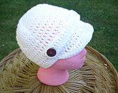 Newsboy Cap, White, Crochet