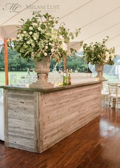 Flower Urn, Vintage Oak Bar, Cocktail hour, Wedding, Ct, Flowers by: KDJ Botanica ©MelaniLustPhotography