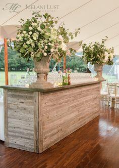 Flower Urn, Vintage Oak Bar, Cocktail hour, Wedding, Ct, Flowers by: KD&J Botanica ©MelaniLustPhotography