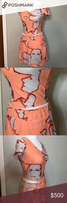 Authentic CHANEL two piece top skirt separate set Authentic Chanel light orange sherbet color two 2 piece top skirt set. Chanel cc logo on both top and skirt CHANEL Dresses Mini