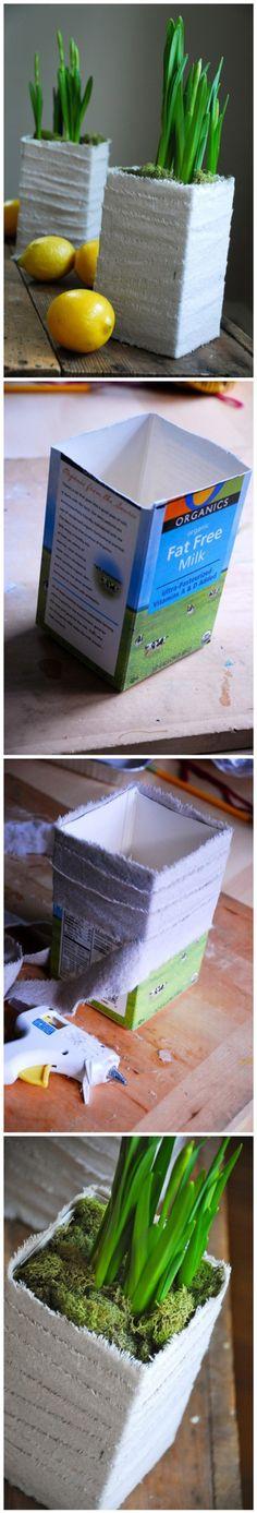 How To Turn Milk Carton Into Beautiful Planters | DIY Tag
