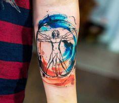 Vitruvian man tattoo by Kateryna Zelenska