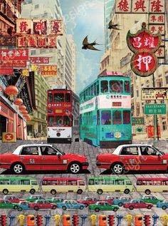 Another design from Louise Hill…..so many Hong Kong icons included in this print called HONG KONG TAXI