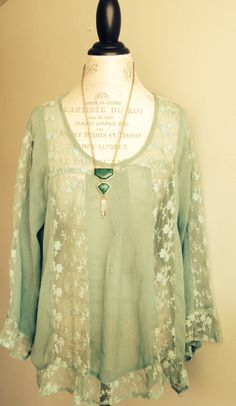 Mint Green Lace Peasant Sheer Blouse by BohoAngels on Etsy, $60.00