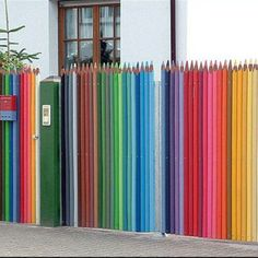 Street art- colored pencil fence