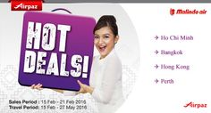 Traveling soon ? why dont you take this chance an go traveling with Malindo Air Hot Deals on Airpaz. Find the best promotional fare from Malindo Air right from Kuala Lumpur to Ho Chi Minh City, Bangkok, Hong Kong, Perth and many more great traveling destination. Book Today : http://Airpaz.com