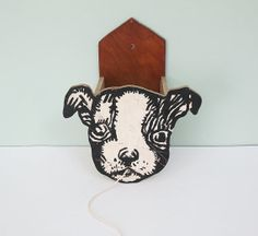 1930s Wooden Rustic Folk Art Boston Terrier Dog String Holder Wall Pocket