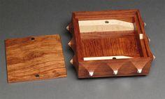 Decorative Wooden Box, Secret Compartment, Bubinga and Maple