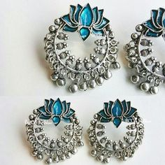 Update : COMPLETELY SOLD    This beauty is back... Just 1 pair Available of the Peacock shade lotus chandbali Earrings.. 1250rs.. Available at www.bcositssilver.com under German Silver oxidized category #bcositssilver #lotusjhumka #lotusearrings #chandbaliearings #chandbali #enamel #peacockshades #peacockblue