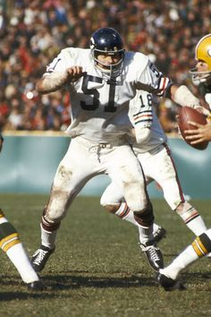 Dick Butkus - Chicago Bears - File Photos  Chicago Bears Hall of Fame linebacker Dick Butkus pressures Green Bay quarterback Jerry Tagge in a 20-17 loss to the Packers at Lambeau Field on 10/8/1972. (Photo by Vernon Biever/NFL)