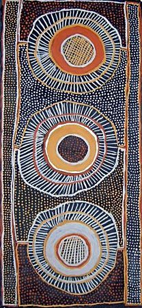 Jean Baptiste Apuatimi / Jirtaka sawfish ochres on canvas. Australian aboriginal art also uses circles to symbolize geography, pathways, dreams.