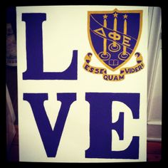 Delta Phi Epsilon DPhiE Canvas, love using the crest for the O in LOVE~