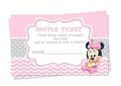 Baby Minnie Mouse Baby Shower Diaper Raffle By XochitlMontana