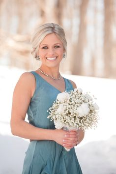 MN winter wedding - bridesmaid bouquet of babies breath and cotton. Lydia Jane Floral Studio. Photo by Alison Lea Photography.