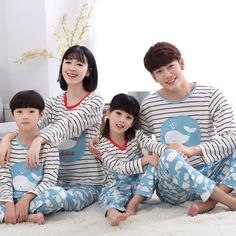 Kiqoo 2016 Striped Cartoon 2 pcs Pajamas Set Long Sleeve Home Clothes Set Family Parent-child Clothing Outfits Matching Family Outfits, Pajamas Women, Kids And Parenting, Outfit Sets, Pajama Set, Baby Kids, Kids Outfits, Cartoon, Children