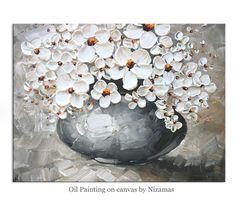 URSPRÜNGLICHE Blumen in einer Vase Malerei abstrakte von Artcoast