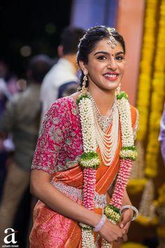 Shravya And Sharan's Engagement - Ashwin Kireet Photography Pictures Pattu Saree Blouse Designs, Half Saree Designs, Bridal Blouse Designs, Lehenga Designs, Indian Wedding Wear, Saree Wedding, Indian Weddings, Nigerian Weddings, African Weddings