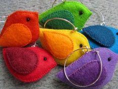 colourful Felt Birds - key rings?