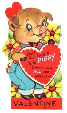 Vintage Unused Valentine with Cute Dressed Pig Piggy Hog Old Greeting Card | eBay