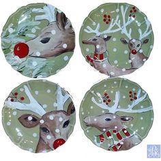 Casafina Deer Friends Salad Plates (set of 4)  sc 1 st  Pinterest & casafina+christmas+dinnerware | Deer Friends Christmas Reindeer ...