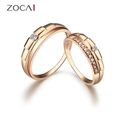 ZOCAI 0.17 Ctw real genuine diamond 18K rose gold engagement bridal ring set wedding couple's ring