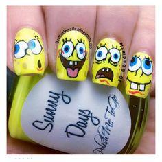 8 Best Spongebob Nails Images On Pinterest Nail Art Beauty Nails