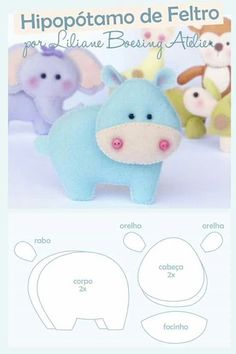 molde hippo by margarett Baby Crafts, Felt Crafts, Crafts For Kids, Felt Animal Patterns, Stuffed Animal Patterns, Sewing Crafts, Sewing Projects, Felt Templates, Baby Mobile