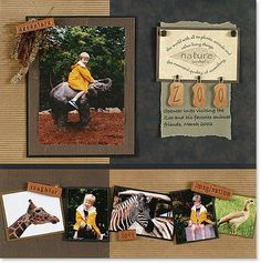 scrapbooking layout for a day at the zoo Photo Layouts, Scrapbook Page Layouts, Scrapbooking Ideas, Scrapbook Designs, Vacation Scrapbook, Disney Scrapbook, Kids Scrapbook, Scrapbook Paper Crafts, Scrapbook Cards
