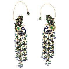 Emerald Sapphire Gold Enamel Peacock Earrings | From a unique collection of vintage dangle earrings at https://www.1stdibs.com/jewelry/earrings/dangle-earrings/