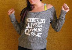 Lift Heavy, Refuel. Repair. Repeat. off the shoulder vintage sweatshirt Sizes XS, S, M, L, XL on Etsy, $35.00