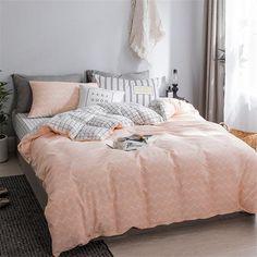 Pink Cotton Duvet Cover Set Geometric Waves Bedding Set Soft Duvet Cover Set Twin/Full/Queen/King Be King Bedding Sets, Duvet Sets, Duvet Cover Sets, Bedroom Colors, Bedroom Ideas, Bedroom Decor, Room Mom, New Room, Cotton Duvet