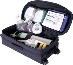"""Oxygen and Resuscitation Kit Crew will have the necessary oxygen management tools in this kit to aid in the treatment of a range of conditions that can occur at sea, such as vasovagal (fainting) episodes, seizures, choking episodes, cardiac events, panic/anxiety attacks and chronic respiratory ailments. This configuration contains a """"Jumbo D"""" oxygen cylinder with regulator, multiple oxygen delivery devices, oral airways, adult and pediatric bag-valve masks and extremely effective manual…"""
