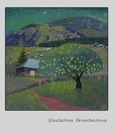 Russian Artist Ekaterina Goncharova.  Night, Moon, Apples
