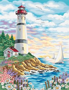 Dimensions Needlecrafts Paintworks Paint By Number, Lighthouse At Sunrise  It is easy to find the perfect gift for lighthouse lovers when you know they love lighthouse home décor and accents that make them think of lighthouses.  Lighthouses are nostalgic, historic and adorable which is a great reason to find inspiration by this type of sea side home décor.   Lighthouse home décor can be used in any room of the home and is the perfect theme to center your home decoration around.