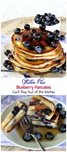Fabulous breakfast pancakes especially for special occasions and holidays. Garnish with maple syrup, fresh blueberries or a blueberry compote. These pancakes are gluten free. Gluten Free Peach, Gluten Free Blueberry, Blueberry Recipes, Gluten Free Breakfasts, Gluten Free Recipes, Healthy Breakfasts, Blueberry Pancakes, Blueberry Strudel, Sweet Potato Biscuits