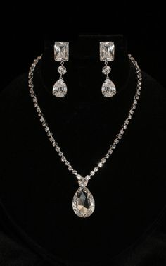 Largest silver jewelry set style 83 with crystals