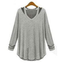 2015 mujeres del verano otoño camisetas Casual manga larga remata camisetas camiseta para mujer de la camiseta Hollow out O cuello sólido camisetas(China (Mainland))