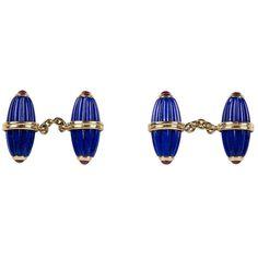 Lapis Lazuli Ruby Gold Cufflinks | See more rare vintage Cufflinks at https://www.1stdibs.com/jewelry/cufflinks/cufflinks