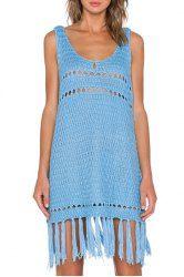 Stylish U Neck Sleeveless Hollow Out Tassels Embellished Women's Knitted Dress