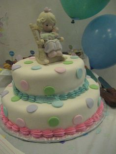 Precious Moments Baby Shower Cakes | Precious Moments Polkadot With  Silohuette Pink Showers Pink Baptism .