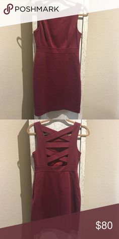 Tibi Sheath dress Wine colored stretchy fitted sheath dress by tibi.  With lattice back detailing.  Worn only two times. Tibi Dresses