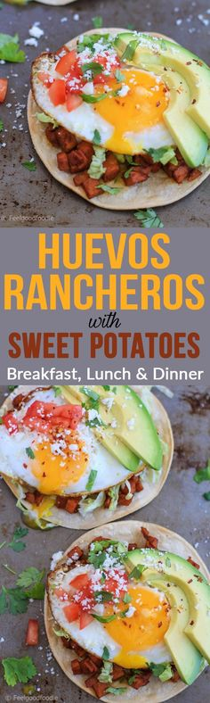 Huevos Rancheros with Sweet Potatoes. What really makes these unique is the cumin chili spiced sweet potatoes that gives the Huevos Rancheros a sweet and savory kick. It'll knock our socks off!